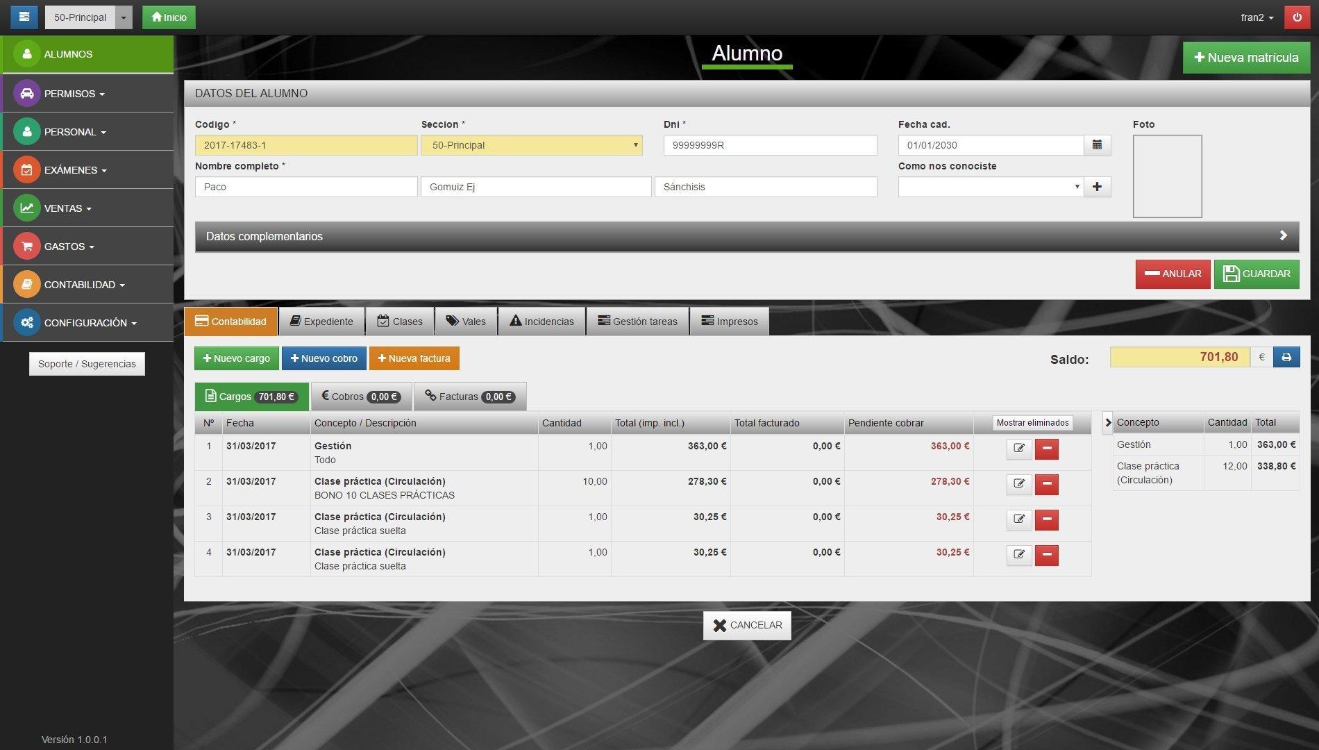 Programa para autoescuelas (WinAutoGest).  Mejoras introducidas en la versión 1.0.0.1